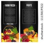 fresh organic fruit flyers set... | Shutterstock . vector #1115819522