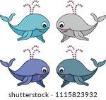 cute whale set  | Shutterstock .eps vector #1115823932
