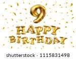 raster copy happy birthday 9... | Shutterstock . vector #1115831498
