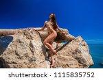 beautiful blond attractive...   Shutterstock . vector #1115835752