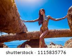 beautiful blond attractive...   Shutterstock . vector #1115835776