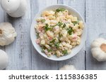 homemade macaroni salad with... | Shutterstock . vector #1115836385