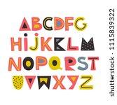vector cartoon funny colorful... | Shutterstock .eps vector #1115839322