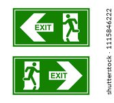 emergency exit signs set. man... | Shutterstock .eps vector #1115846222