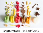 colorful french macarons... | Shutterstock . vector #1115849012