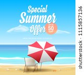 special summer offer 50  off... | Shutterstock .eps vector #1115857136