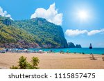 beach of cleopatra with sea and ... | Shutterstock . vector #1115857475