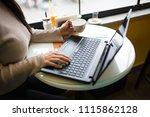 women who is in cafe | Shutterstock . vector #1115862128