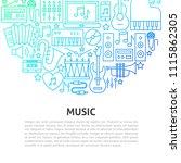 music arts line concept. vector ... | Shutterstock .eps vector #1115862305