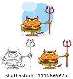 devil burger cartoon character...   Shutterstock . vector #1115866925