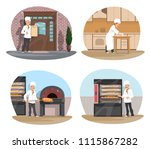 baker at work cartoon icon set... | Shutterstock .eps vector #1115867282