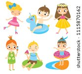 cartoon kids set. children... | Shutterstock . vector #1115870162