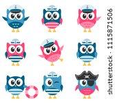set of funny owls sailors... | Shutterstock . vector #1115871506