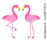 two pink flamingo birds... | Shutterstock . vector #1115871512