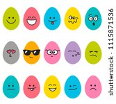 cute colorful easter eggs with... | Shutterstock . vector #1115871536