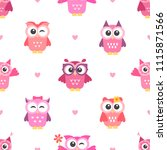 seamless pattern with owls... | Shutterstock . vector #1115871566