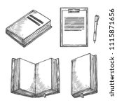 book  notebook  pen and... | Shutterstock .eps vector #1115871656