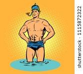 swimmer in swimming trunks and... | Shutterstock .eps vector #1115872322