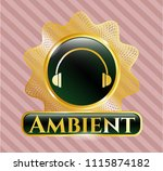 gold emblem with headphones... | Shutterstock .eps vector #1115874182