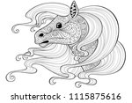 horse with long hair.tattoo or... | Shutterstock .eps vector #1115875616