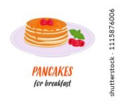 plate with delicious pancakes ... | Shutterstock .eps vector #1115876006