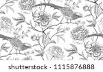 Stock vector peonies and pheasants floral exotic vintage seamless pattern with flowers and birds white and 1115876888