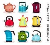flat vector set of tea kettles. ... | Shutterstock .eps vector #1115879528