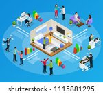 isometric stress infographic...   Shutterstock .eps vector #1115881295