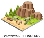 isometric mountain camping... | Shutterstock .eps vector #1115881322