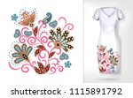 embroidery colorful trend... | Shutterstock .eps vector #1115891792