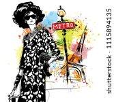 fashion girl on a street...   Shutterstock . vector #1115894135
