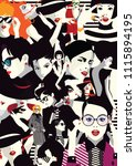 collage of fashion girls in... | Shutterstock .eps vector #1115894195