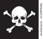 jolly roger human skull with... | Shutterstock .eps vector #1115895206