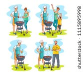 hand drawn family at barbeque... | Shutterstock .eps vector #1115895998