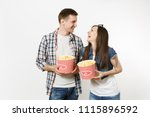 young happy smiling couple ... | Shutterstock . vector #1115896592