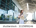 young smiling traveler tourist... | Shutterstock . vector #1115898146