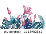 exotic flowers. hand painted... | Shutterstock . vector #1115902862