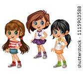 cute cartoon girls collection... | Shutterstock .eps vector #1115903588