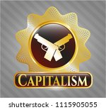 golden emblem with crossed...   Shutterstock .eps vector #1115905055