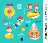 summer kids set  swimming ... | Shutterstock .eps vector #1115916878