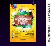 vector summer beach party flyer ... | Shutterstock .eps vector #1115922365