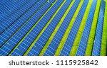 solar panels in aerial view | Shutterstock . vector #1115925842