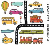 vector hand drawn set with hand ... | Shutterstock .eps vector #1115939255