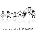 doodle happy kids in a row  | Shutterstock .eps vector #1115940038
