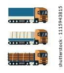 heavy load trucks set. flat... | Shutterstock .eps vector #1115943815