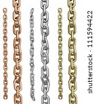 set of 3d render chains on white | Shutterstock . vector #111594422