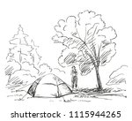 sketch of tent and woman at... | Shutterstock .eps vector #1115944265
