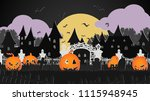 a group of pumpkin are walking... | Shutterstock .eps vector #1115948945
