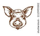 Pig Head Line Art Ink Sketch...
