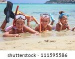 Girls in the sea - stock photo